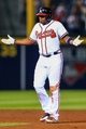 Apr 11, 2014; Atlanta, GA, USA; Atlanta Braves left fielder Justin Upton (8) reacts to a walk off single in the tenth inning against the Washington Nationals at Turner Field. The Braves won 7-6. Mandatory Credit: Daniel Shirey-USA TODAY Sports