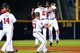Apr 11, 2014; Atlanta, GA, USA; Atlanta Braves left fielder Justin Upton (8) celebrates a walk off single with center fielder B.J. Upton (2) in the tenth inning against the Washington Nationals at Turner Field. The Braves won 7-6. Mandatory Credit: Daniel Shirey-USA TODAY Sports