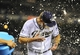 Apr 11, 2014; San Diego, CA, USA; San Diego Padres starting pitcher Andrew Cashner (34) is dumped with Powerade after throwing a complete game one hitter against the Detroit Tigers at Petco Park. The Padres won 6-0. Mandatory Credit: Christopher Hanewinckel-USA TODAY Sports