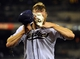 Apr 11, 2014; San Diego, CA, USA; San Diego Padres starting pitcher Andrew Cashner (34) after being hit with shaving cream and dumped with Powerade following a complete game one hitter against the Detroit Tigers at Petco Park. The Padres won 6-0. Mandatory Credit: Christopher Hanewinckel-USA TODAY Sports