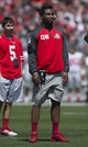 Apr 12, 2014; Columbus, OH, USA; Ohio State Buckeyes quarterback Braxton Miller looks on during the Ohio State Buckeyes Spring Game at Ohio Stadium. Mandatory Credit: Greg Bartram-USA TODAY Sports