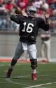 Apr 12, 2014; Columbus, OH, USA; Ohio State Gray Team quarterback J.T. Barrett (16) throws the ball during the Ohio State Buckeyes Spring Game at Ohio Stadium. Mandatory Credit: Greg Bartram-USA TODAY Sports