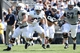 Apr 12, 2014; State College, PA, USA; Penn State Nittany Lions fullback Jack Haffner (32) runs with the ball in the third quarter of the Blue White spring game at Beaver Stadium. The Blue team won 37-0. Mandatory Credit: Matthew O'Haren-USA TODAY Sports