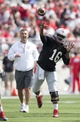 Apr 12, 2014; Columbus, OH, USA; Ohio State Gray Team quarterback J.T. Barrett (16) throws the ball in front of head coach Urban Meyer during the Ohio State Buckeyes Spring Game at Ohio Stadium. The Scarlet team won 17-7. Mandatory Credit: Greg Bartram-USA TODAY Sports