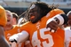 Apr 12, 2014; Knoxville, TN, USA; Tennessee Volunteers linebacker A.J. Johnson (45) dances on the field after the spring game at Neyland Stadium. Mandatory Credit: Randy Sartin-USA TODAY Sports