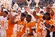 Apr 12, 2014; Knoxville, TN, USA; The Tennessee Volunteers players celebrate after their spring game at Neyland Stadium. Mandatory Credit: Randy Sartin-USA TODAY Sports
