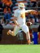Apr 12, 2014; Knoxville, TN, USA; Tennessee Volunteers punter Matt Darr (43) kicks the ball during the spring game at Neyland Stadium. Mandatory Credit: Randy Sartin-USA TODAY Sports