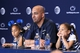 Apr 12, 2014; State College, PA, USA; Penn State Nittany Lions head coach James Franklin answers questions from the media as his daughters Shola Franklin (left) and Addison Franklin (right) look on following the completion of the Blue White spring game at Beaver Stadium. The Blue team defeated the White team 37-0. Mandatory Credit: Matthew O'Haren-USA TODAY Sports
