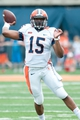 Apr 12, 2014; Champaign, IL, USA; Illinois Fighting Illini quarterback Aaron Bailey (15) passes the ball during the first quarter of the spring game at Memorial Stadium. Mandatory Credit: Bradley Leeb-USA TODAY Sports