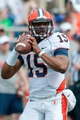 Apr 12, 2014; Champaign, IL, USA; Illinois Fighting Illini quarterback Aaron Bailey (15) looks to pass the ball during the second quarter of the spring game at Memorial Stadium. Mandatory Credit: Bradley Leeb-USA TODAY Sports