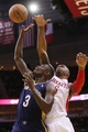 Apr 12, 2014; Houston, TX, USA; New Orleans Pelicans guard Anthony Morrow (3) has his shot blocked by Houston Rockets forward Terrence Jones (behind) during the first half at Toyota Center. Mandatory Credit: Soobum Im-USA TODAY Sports