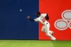 Apr 12, 2014; Atlanta, GA, USA; Atlanta Braves right fielder Jason Heyward (22) plays a carom off the wall on a double  by Washington Nationals left fielder Nate McLouth (15) in the seventh inning at Turner Field. Mandatory Credit: Daniel Shirey-USA TODAY Sports