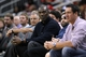 Apr 12, 2014; Houston, TX, USA; Former Houston Rockets basketball player Hakeem Olajuwon watches during the second half against the New Orleans Pelicans at Toyota Center. Mandatory Credit: Soobum Im-USA TODAY Sports