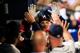Apr 12, 2014; Atlanta, GA, USA; Atlanta Braves first baseman Freddie Freeman (5) celebrates a solo home run with teammates in the eighth inning against the Washington Nationals at Turner Field. Mandatory Credit: Daniel Shirey-USA TODAY Sports