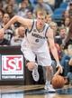 Apr 8, 2014; Minneapolis, MN, USA; Minnesota Timberwolves forward Robbie Hummel (6) dribbles at Target Center. Mandatory Credit: Brad Rempel-USA TODAY Sports