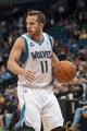 Apr 8, 2014; Minneapolis, MN, USA; Minnesota Timberwolves guard J.J. Barea (11) dribbles at Target Center. Mandatory Credit: Brad Rempel-USA TODAY Sports