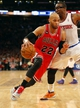 Apr 13, 2014; New York, NY, USA;  Chicago Bulls forward Taj Gibson (22) drives to the basket during the first half against New York Knicks forward Amar'e Stoudemire (1) at Madison Square Garden. Mandatory Credit: Jim O'Connor-USA TODAY Sports