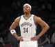 Apr 13, 2014; Brooklyn, NY, USA; Brooklyn Nets forward Paul Pierce (34) in the second quarter against Orlando Magic at Barclays Center. Nets win 97-88. Mandatory Credit: Nicole Sweet-USA TODAY Sports