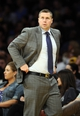 Apr 13, 2014; Los Angeles, CA, USA;  Memphis Grizzlies head coach David Joerger reacts during the first quarter against the Los Angeles Lakers at Staples Center. Mandatory Credit: Robert Hanashiro-USA TODAY Sports