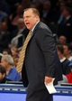 Apr 13, 2014; New York, NY, USA;  Chicago Bulls head coach Tom Thibodeau reacts during the second half against the New York Knicks at Madison Square Garden. New York Knicks defeat the Chicago Bulls 100-89. Mandatory Credit: Jim O'Connor-USA TODAY Sports