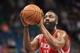 Apr 11, 2014; Minneapolis, MN, USA; Houston Rockets guard James Harden (13) shoots at Target Center. The Minnesota Timberwolves win 112-110. Mandatory Credit: Brad Rempel-USA TODAY Sports