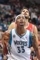 Apr 11, 2014; Minneapolis, MN, USA; Minnesota Timberwolves forward Dante Cunningham (33) rebounds at Target Center. The Minnesota Timberwolves win 112-110. Mandatory Credit: Brad Rempel-USA TODAY Sports