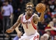 Apr 14, 2014; Houston, TX, USA; Houston Rockets forward Terrence Jones (6) controls the ball during the first quarter against the San Antonio Spurs at Toyota Center. Mandatory Credit: Troy Taormina-USA TODAY Sports