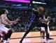 Apr 14, 2014; Chicago, IL, USA; Orlando Magic center Dewayne Dedmon (3) grabs a rebound against Chicago Bulls center Joakim Noah (13) during the second quarter at the United Center. Mandatory Credit: Mike DiNovo-USA TODAY Sports