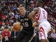 Apr 14, 2014; Houston, TX, USA; San Antonio Spurs forward Aron Baynes (16) attempts to drive the ball past Houston Rockets forward Terrence Jones (6) during the second quarter at Toyota Center. Mandatory Credit: Troy Taormina-USA TODAY Sports
