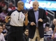 Apr 14, 2014; Houston, TX, USA; San Antonio Spurs head coach Gregg Popovich talks with an official during the second quarter against the Houston Rockets at Toyota Center. Mandatory Credit: Troy Taormina-USA TODAY Sports