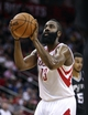 Apr 14, 2014; Houston, TX, USA; Houston Rockets guard James Harden (13) attempts a free throw during the fourth quarter against the San Antonio Spurs at Toyota Center. The Rockets defeated the Spurs 104-98. Mandatory Credit: Troy Taormina-USA TODAY Sports