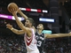 Apr 14, 2014; Houston, TX, USA; Houston Rockets forward Chandler Parsons (25) drives to the basket during the fourth quarter against the San Antonio Spurs at Toyota Center. The Rockets defeated the Spurs 104-98. Mandatory Credit: Troy Taormina-USA TODAY Sports