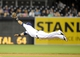 Apr 14, 2014; San Diego, CA, USA; San Diego Padres shortstop Everth Cabrera (2) makes a diving catch during the third inning against the Colorado Rockies at Petco Park. Mandatory Credit: Christopher Hanewinckel-USA TODAY Sports