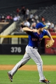 Apr 14, 2014; Phoenix, AZ, USA; New York Mets third baseman David Wright (5) throws to first base during the fifth inning against the Arizona Diamondbacks at Chase Field. Mandatory Credit: Matt Kartozian-USA TODAY Sports