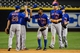 Apr 14, 2014; Phoenix, AZ, USA; New York Mets left fielder Eric Young Jr. (22) celebrates with second baseman Daniel Murphy (28) after beating the Arizona Diamondbacks 7-3 at Chase Field. Mandatory Credit: Matt Kartozian-USA TODAY Sports