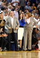 Apr 14, 2014; Oakland, CA, USA; Golden State Warriors majority owner Joe Lacob celebrates on the sideline after a play against the Minnesota Timberwolves during the fourth quarter at Oracle Arena. The Golden State Warriors defeated the Minnesota Timberwolves 130-120. Mandatory Credit: Kelley L Cox-USA TODAY Sports