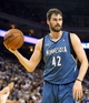 Apr 14, 2014; Oakland, CA, USA; Minnesota Timberwolves forward Kevin Love (42) between plays against the Golden State Warriors during the third quarter at Oracle Arena. The Golden State Warriors defeated the Minnesota Timberwolves 130-120. Mandatory Credit: Kelley L Cox-USA TODAY Sports