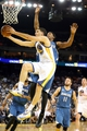 Apr 14, 2014; Oakland, CA, USA; Golden State Warriors guard Klay Thompson (11) goes up for a shot against Minnesota Timberwolves forward Dante Cunningham (33) during the third quarter at Oracle Arena. The Golden State Warriors defeated the Minnesota Timberwolves 130-120. Mandatory Credit: Kelley L Cox-USA TODAY Sports