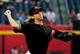 Apr 15, 2014; Phoenix, AZ, USA; Arizona Diamondbacks starting pitcher Bronson Arroyo throws during the first inning against the New York Mets at Chase Field. Mandatory Credit: Matt Kartozian-USA TODAY Sports