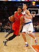 Apr 16, 2014; New York, NY, USA;  Toronto Raptors guard DeMar DeRozan (10) drives to the basket during the first half against New York Knicks guard Pablo Prigioni (9) at Madison Square Garden. Mandatory Credit: Jim O'Connor-USA TODAY Sports