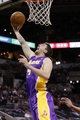 Apr 16, 2014; San Antonio, TX, USA; Los Angeles Lakers forward Ryan Kelly (4) shoots during the first half against the San Antonio Spurs at AT&T Center. Mandatory Credit: Soobum Im-USA TODAY Sports