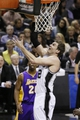 Apr 16, 2014; San Antonio, TX, USA; San Antonio Spurs forward Tiago Splitter (22) shoots during the first half against the Los Angeles Lakers at AT&T Center. Mandatory Credit: Soobum Im-USA TODAY Sports