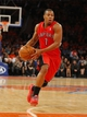 Apr 16, 2014; New York, NY, USA;  Toronto Raptors guard Kyle Lowry (7) drives to the basket during the first half against the New York Knicks at Madison Square Garden. Mandatory Credit: Jim O'Connor-USA TODAY Sports
