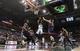 Apr 16, 2014; Milwaukee, WI, USA; Milwaukee Bucks forward Jeff Adrien (12) shoots during the fourth quarter against the Atlanta Hawks at BMO Harris Bradley Center.  Atlanta won 111-103.  Mandatory Credit: Jeff Hanisch-USA TODAY Sports