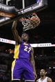 Apr 16, 2014; San Antonio, TX, USA; Los Angeles Lakers forward Jordan Hill (27) dunks the ball against the San Antonio Spurs during the first half at AT&T Center. Mandatory Credit: Soobum Im-USA TODAY Sports