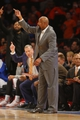 Apr 16, 2014; New York, NY, USA;  New York Knicks head coach Mike Woodson during the second half against the Toronto Raptors at Madison Square Garden. New York Knicks defeat the Toronto Raptors 95-92. Mandatory Credit: Jim O'Connor-USA TODAY Sports
