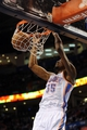 Apr 16, 2014; Oklahoma City, OK, USA;  Oklahoma City Thunder forward Kevin Durant (35) dunks the ball against the Detroit Pistons during the fourth quarter at Chesapeake Energy Arena. Mandatory Credit: Mark D. Smith-USA TODAY Sports