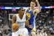 Apr 16, 2014; Denver, CO, USA; Denver Nuggets forward Quincy Miller (30) drives to the basket past Golden State Warriors guard Kly Thompson (11) during the first quarter at Pepsi Center. Mandatory Credit: Chris Humphreys-USA TODAY Sports