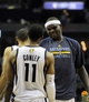 Apr 16, 2014; Memphis, TN, USA; Memphis Grizzlies forward Zach Randolph (50) and Memphis Grizzlies guard Mike Conley (11) during the game against the Dallas Mavericks at FedExForum. Memphis Grizzlies beat the Dallas Mavericks in overtime 106 - 105. Mandatory Credit: Justin Ford-USA TODAY Sports