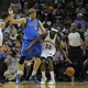 Apr 16, 2014; Memphis, TN, USA; Memphis Grizzlies forward Zach Randolph (50) handles the ball against Dallas Mavericks forward Dirk Nowitzki (41) during the game at FedExForum. Memphis Grizzlies beat the Dallas Mavericks in overtime 106 - 105. Mandatory Credit: Justin Ford-USA TODAY Sports